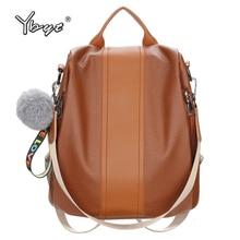 Купить с кэшбэком YBYT brand 2018 New PU Leather Student Backpacks Joker Leisure Backpacks Simple Stylish Large Capacity Women Leather Travel Bags