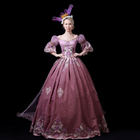 a152aa2044b5 Customized 2018 Autumn Winter Dark Pink Women Christmas Party Dress Medieval  Flowers Embroidery Marie Antoinette Ball