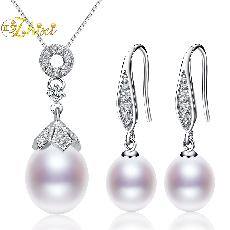 ZHIXI Pearl Jewelry Sets For Women Big Natural Pearl Necklace Pendant Earrings Water Drop Fine Jewelry