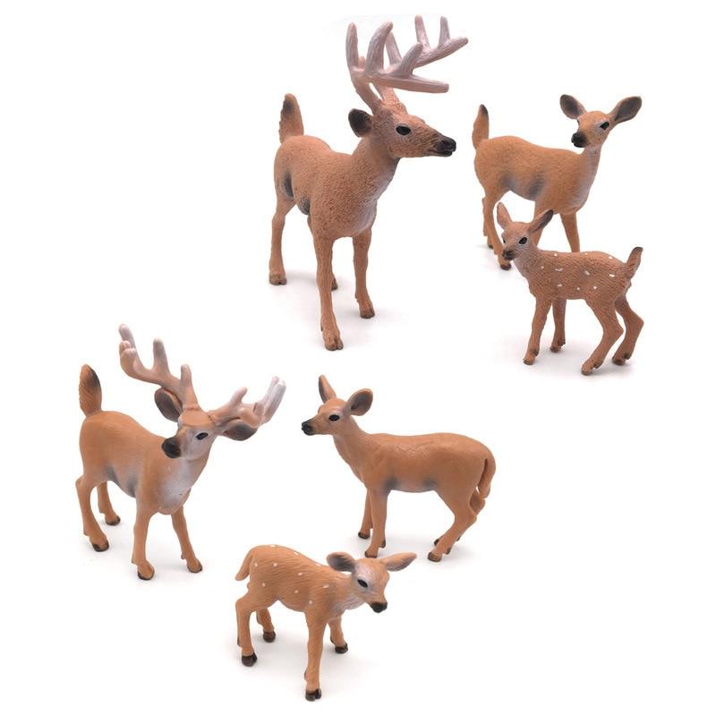 WHISM Plastic Deer Figurine Mini Garden Decoration Animal Ornaments Living Room Home Decor Kids Gift Toys Miniature Figurines figurine