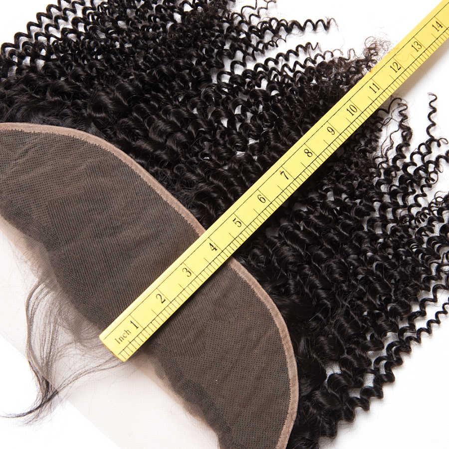 Бразильские пряди кудрявых волос с фронтальными вьющимися пучками волос с закрытием Remy человеческие волосы 3 пучка с закрытием ALIPOP