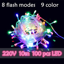 NEW Christmas decorations light string 10m 100 LEDS 220V, waterproof  9 colors with EU plug connector and controller Garland LED