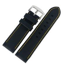 Ремешок силиконовый для часов, водонепроницаемый резиновый браслет в стиле милитари для дайвинга, с прострочкой желтой линии, 20 мм/22 мм/24 мм/...