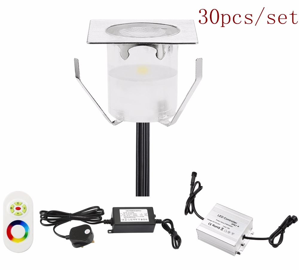 QACA 30pcs/set Top quality Floor Stage Table Recessed Lamps Highly Efficient Stable Decorated Outdoor Wall Lights DC12V B113-30