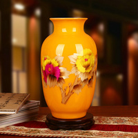 Modern Chinese vase Family High grade Yellow Straw Peony Vase Business Gifts vase Home Decoration Jingdezhen Flower Vases