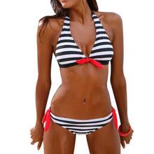bikini 2019 Women Bikini Set Striped Swimsuit Swimwear Beachwear  Female Floral Print  swimwear women sexy bikini set #15