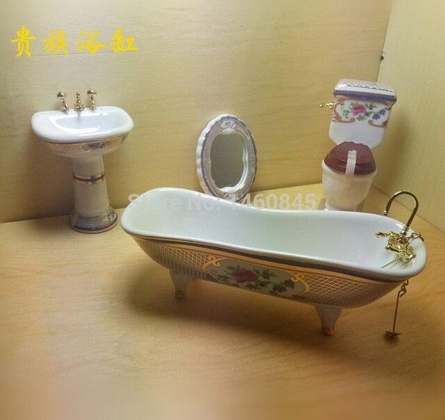 Nieuwe 1:12 Poppenhuis miniatuur accessoires Doucheruimte Badkamer ...