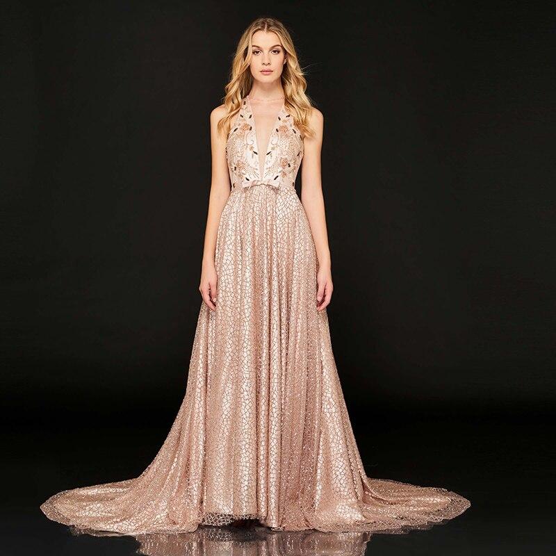 Tanpell sweep treno del merletto del vestito da sera rosa scoop neck senza  maniche una linea a34a7abb263