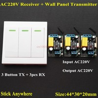 AC 220V 3 Way Channel Remote Control Switch Wall Panel Wall Transmitter Remote Home Room Stairway
