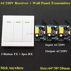 AC 220V 3 Way kanałowy pilot zdalnego sterowania przełącznik + panel ścienny nadajnik ścienny pilot zdalnego dom pokój ścienne schody lampa światła żarówki LED RX TX w Przełączniki od Lampy i oświetlenie na