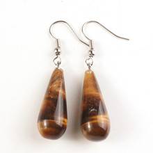 FYJS Unique Jewelry Silver Plated Long Water Drop Earrings with Natural Tiger Eye Stone цена и фото