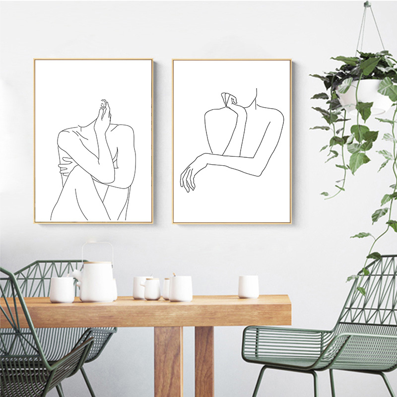 Abstract Lady Line Drawing Picture Home Decor Nordic Canvas Painting Wall Art Figure Body Hand Posters and Print for Living Room 4