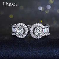 UMODE Two 0.65ct CZ Zircon Stone Open Ended Ring Micro Round and Rectangle CZ Pave White Gold Color Jewelry For Women UR0199B