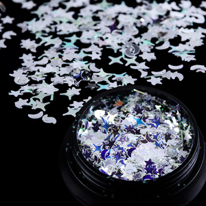 Image 4 - 1 Bottle Laser Nail Glitter Holographic Sequins Mixed Flakes Star Crescent Paillette Powder Spangle 3D Nail Art Decoration BE779