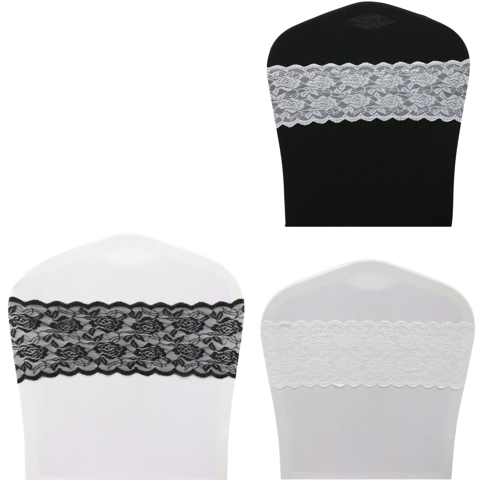 50pcs Wedding Chair Bands White Lace Chair Sashes Chair Ribbons Baby For Shower Birthday Wedding Party