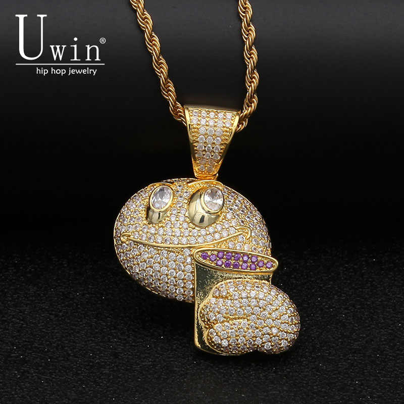 UWIN Iced Out Emoji Face Drink Pendant Full AAA CZ Bling Micro Paved Men's Hip hop Necklace Fashion Hiphop Jewelry