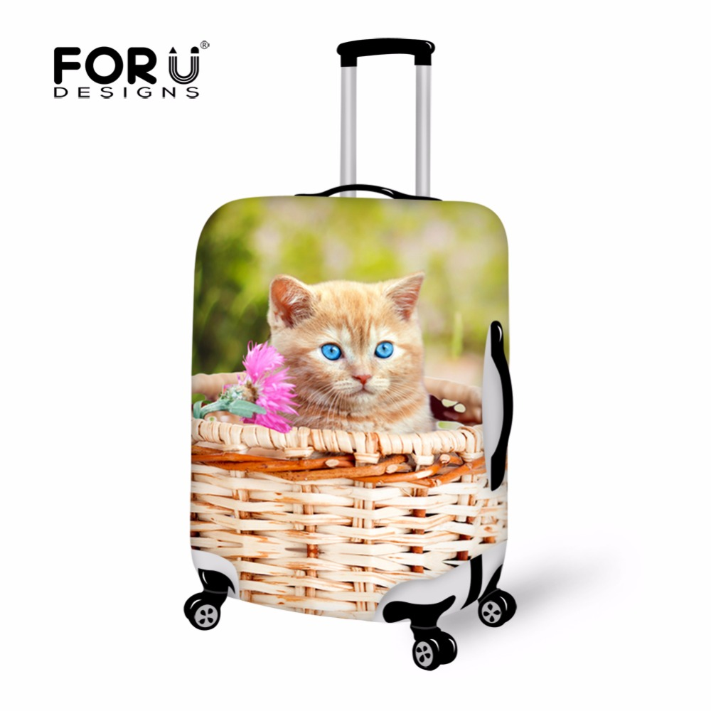 Cat Printing18-30 Inch Luggage Protective Covers Stretch Waterproof Animal Elastic Suitcase Cover Large Size Travel Bag Cover