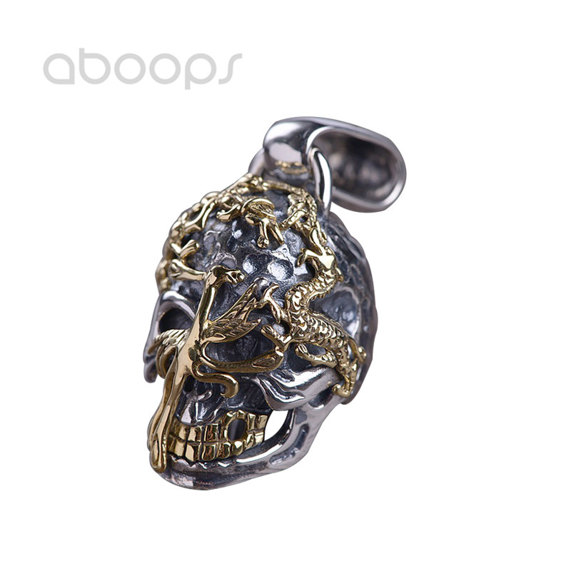 Gothic 925 Sterling Silver Skull Pendant Gold Tiger & Dragon & Tortoise & Vermilion Bird for Men Boys Free ShippingGothic 925 Sterling Silver Skull Pendant Gold Tiger & Dragon & Tortoise & Vermilion Bird for Men Boys Free Shipping