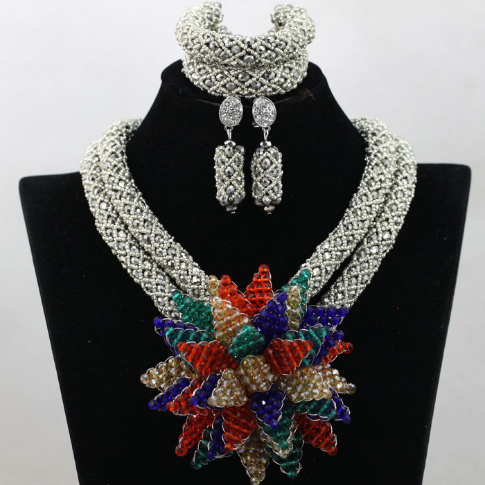 Shiny Silver African Women Wedding Accessories Beads Jewelry Set Crystal Flowers Lady Necklace Earrings Gift Free Shipping QW442 free shipping wedding lady perfume personalized guestbook gb030