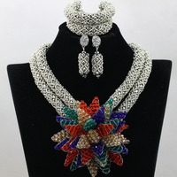 Shiny Silver African Women Wedding Accessories Beads Jewelry Set Crystal Flowers Lady Necklace Earrings Gift Free Shipping QW442