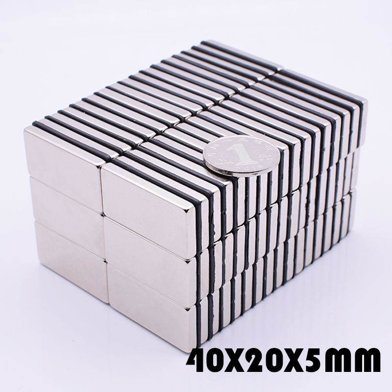 5Pcs 40x20x5 mm neodymium magnet super powerful magnets free shipping rare earth N35 strong 40*20*5