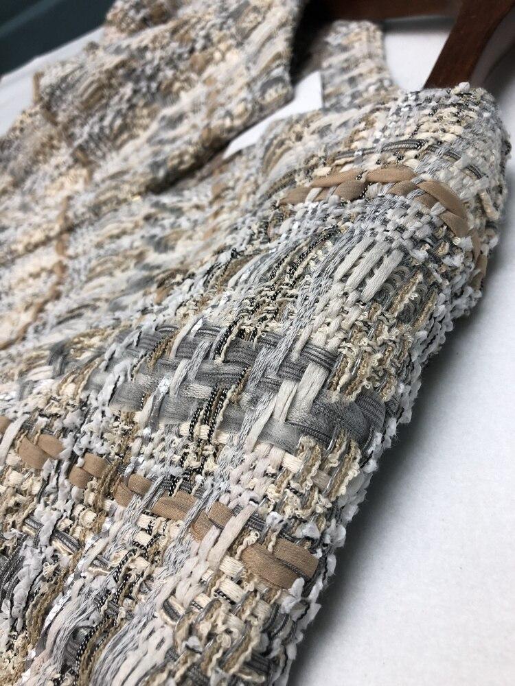 18 autumn Fashion show women's high-end quality tweed woven lace tassel dress Short sleeve miniskirt lattice Belt mini dress 12