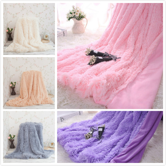 LYN&GY Super Soft Long Shaggy Fuzzy Fur Faux Warm Elegant Cozy With Fluffy Sherpa Throw Blanket sofa cover cobertor on the bed