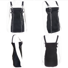 Rockmore Black Chain Zipper Split Straight Strappy Mini Dress Women Buckle Belt Punk Style Casual Dresses Fashion 2019 Summer