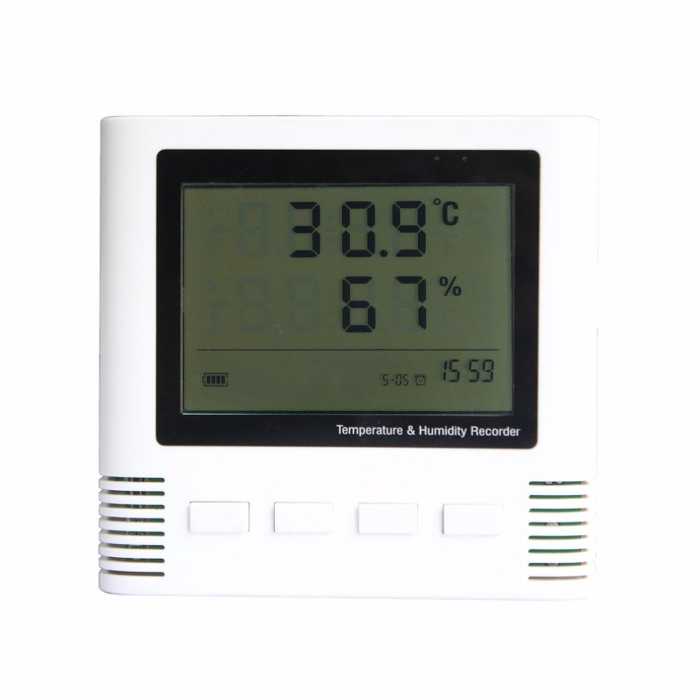 Large Screen LCD Digital Portable Thermometer Hygrometer Alarm Detector Temperature Humidity Meter Sensor Indoor Detector dc106 digital indoor desk thermometer humidity temperature hygrometer meter white yellow