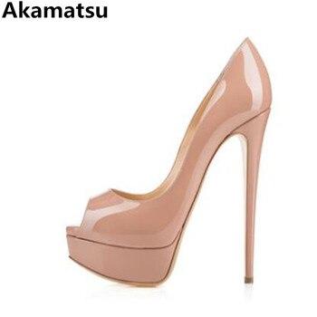 e4ea6f76 Akamatsu marca 12 CM tacones altos extremos sandalias de verano plataforma  cuñas zapatos para mujer zapatos de punta abierta zapatos de novia zapatos  ...
