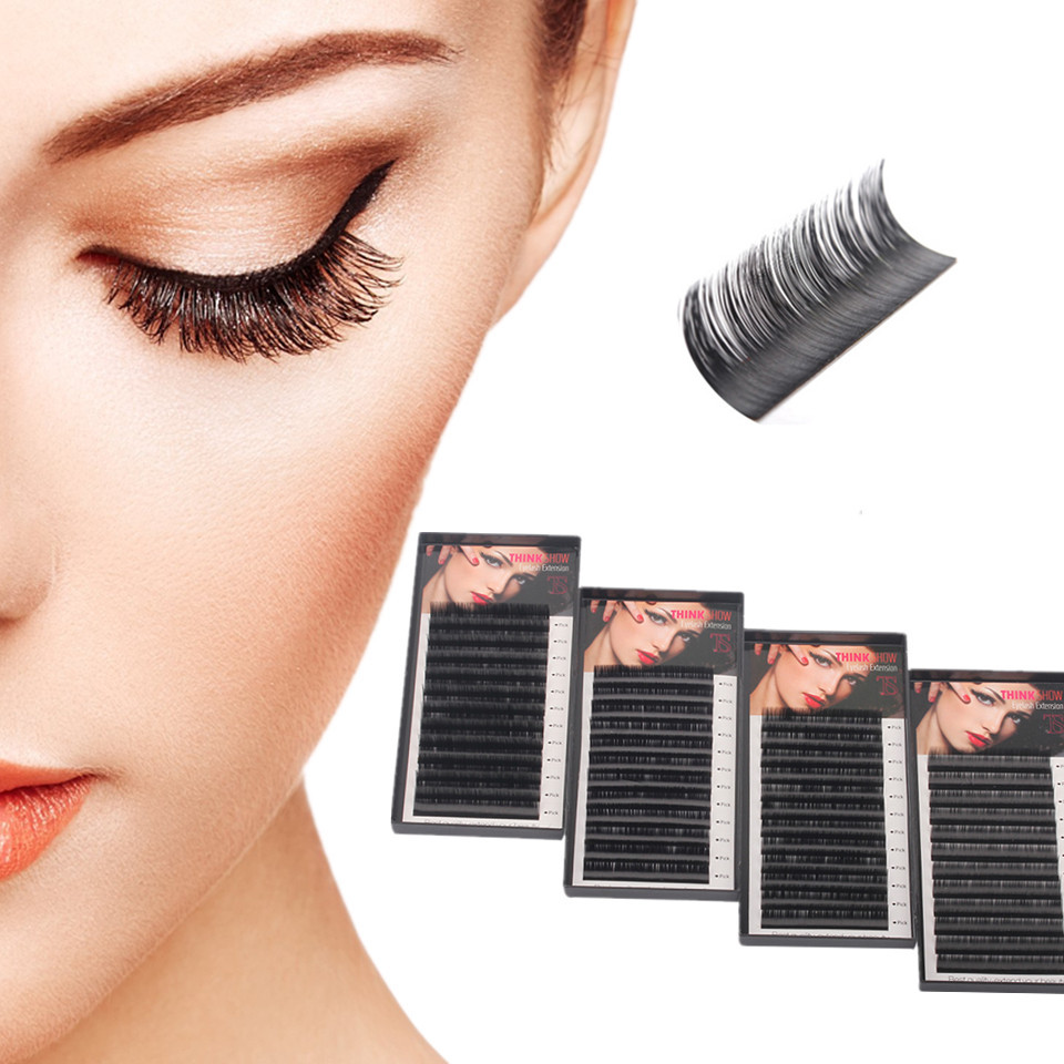 NEWCOME 4 cases,All Size High Quality Eyelash Extension Korean Silk Volume Eyelashes Curl B/C/D Eye Lashes Makeup Professionals