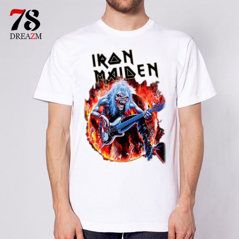 Iron maiden font b Men b font T shirt Short Sleeves shirts Male font b Mens