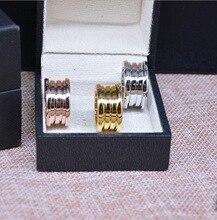 Bulgaria Joyería de plata de oro rosa de acero inoxidable 316L anillos mujeres hombres joyas de boda de primavera de Color anillo de pareja de los enamorados con caja