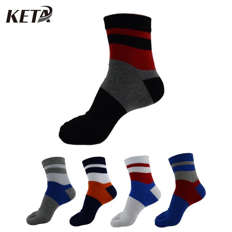 KETA Fashion Colorful Men Five Finger Toe Socks For Male Casual Printed Patchwork Cotton Crew Socks Business Dress Socks/5Pairs