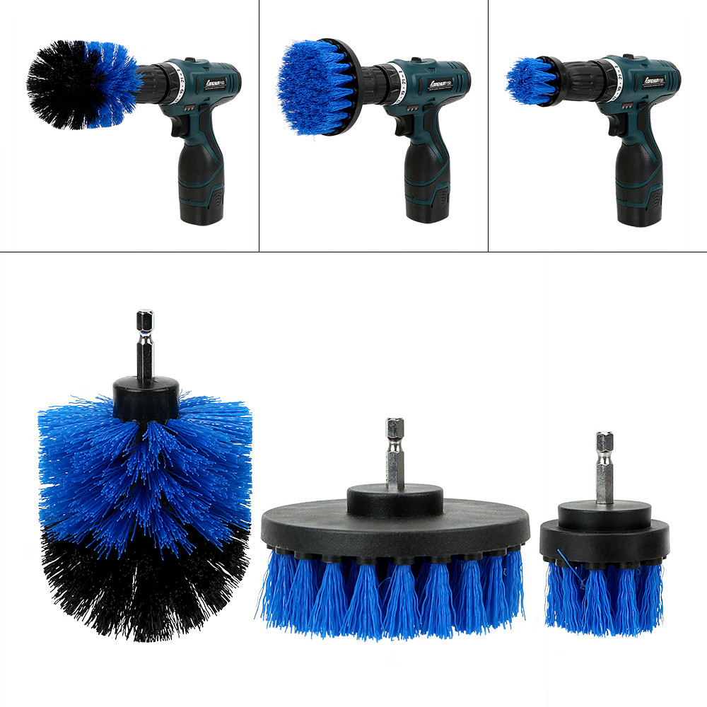 3pcs/set Car Cleaning Tool Auto Detailing Cleaning Hard Bristle Car Auto Care Car Brush Drill Scrubber Brush Kit