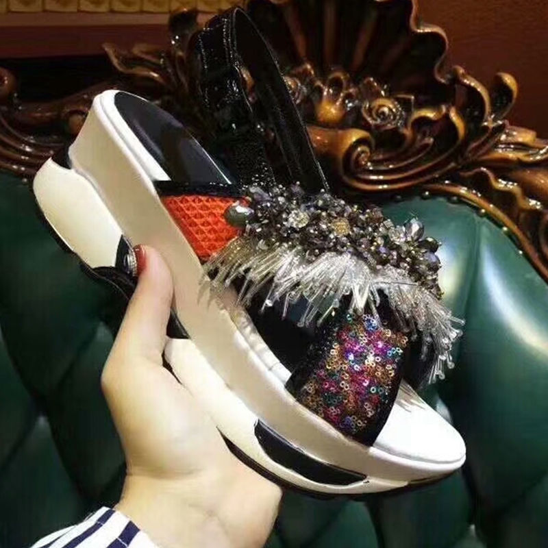 Woman Sandals Hot New Shoes Woman Tassel Embellished Sequined Cloth Wedges Shoes Chic Lady Trendy Platform Buckle Design Shoes bohemia plus size 34 41 new fashion wedges sandals slip on elastic band casual platform shoes woman summer lady shoes shallow