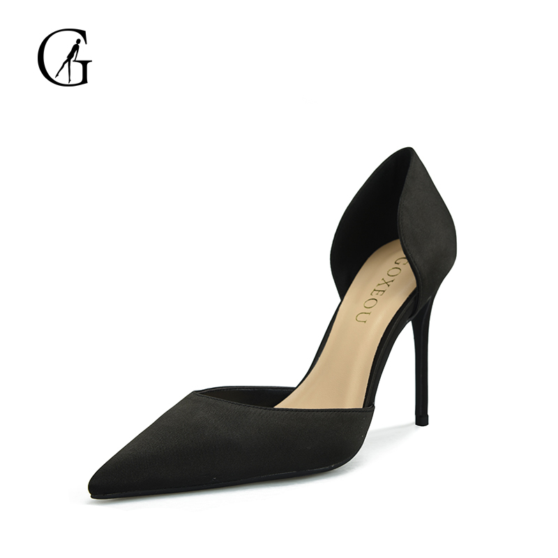GOXEOU 2018 Women Pumps Thin Heel High Heels Sexy Pointed Toe Slip-On Wedding Office Handmade Plus size Free Shipping купить