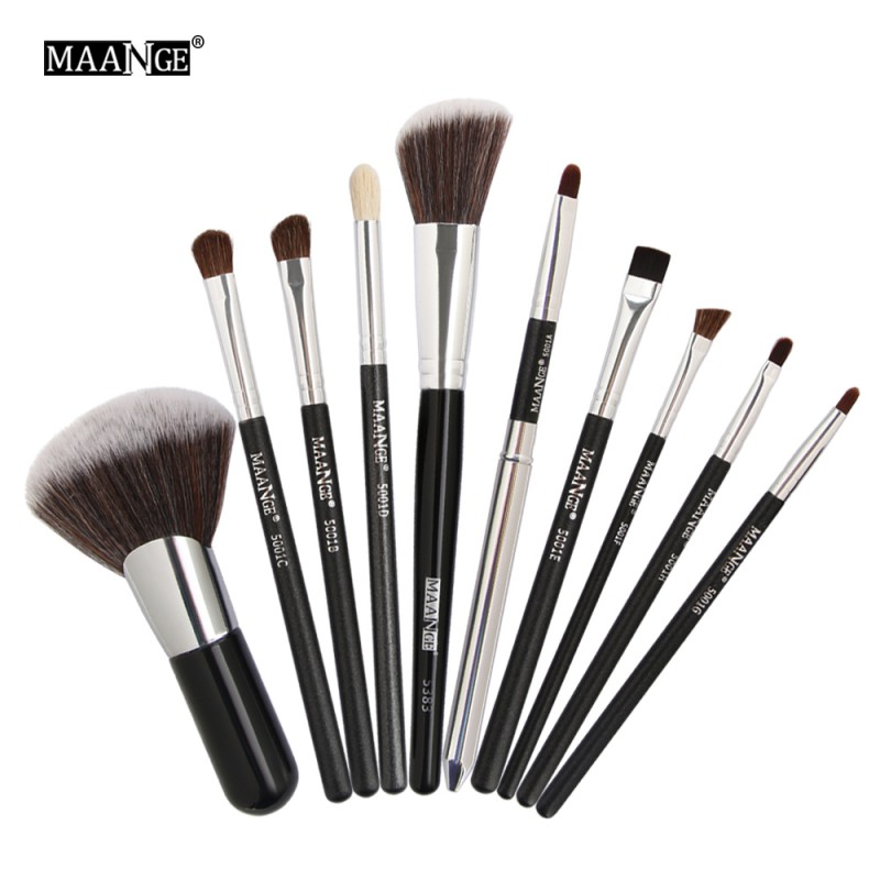 10pcs Cosmetic Makeup Brushes Set Power Eyeshadow Blush Brow Liner Lip Concealer Angle Top Make Up Brush Beauty Tool Kit 10pcs 16pcs professional makeup brushes cosmetic brush set blush eyeshadow brush make up tool