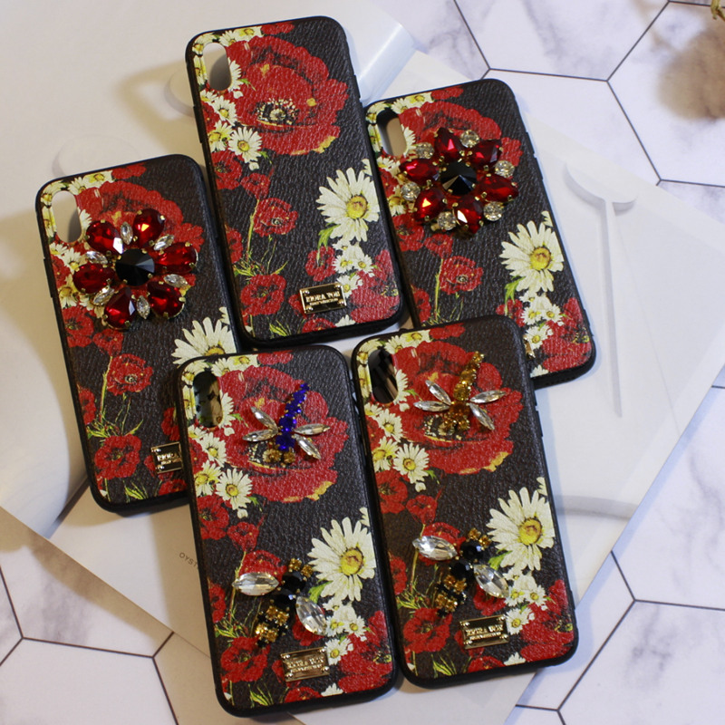 Aoweziic Banana leaf For iphone6s Rhinestone X XS MAX XR mobile phone shell xiangyanghua bee dragonfly 7 8Plus protective sleeve in Rhinestone Cases from Cellphones Telecommunications