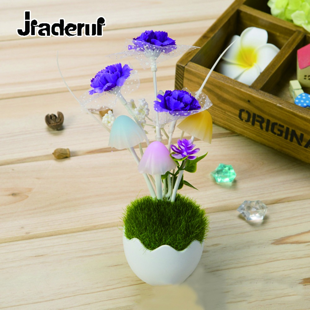 Jiaderui Wall Lamp Mushroom Flower Sensor Night Lamp US Plug LED Colorful Night Light Baby Nursery Sleeping Lights Bedside Light