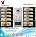 YobangSecurity 10 Apartment Wired Video Door Phone Intercom 7Inch Monitor IR Camera RFID Video Doorbell Kit Supprt RFID Card