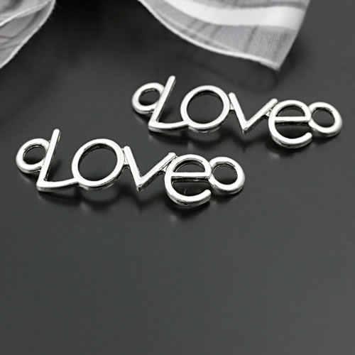 20 piezas 34x10MM 41x15MM aleación de Zinc pulseras de plata antiguas conector 2 agujeros amor pulseras conectar encantos de la joyería de accesorios