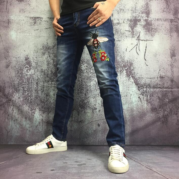 Personality trousers men pants embroidery bee straight jeans pant mens feet trousers fashion pantalon homme street novelty dsel brand men jeans denim white stripe jeans mens pants buttons blue color fashion street biker jeans men straight ripped jeans