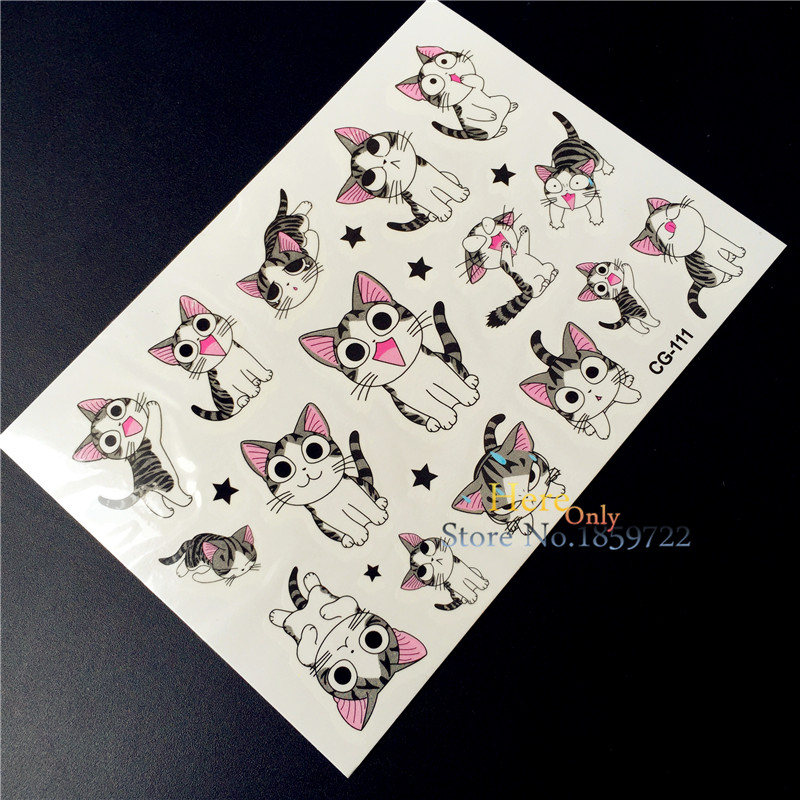 Cute Cheese Cat Tattoo Child Flash Body Art Arm Tatoo Chi s Sweet Home Cat Kids