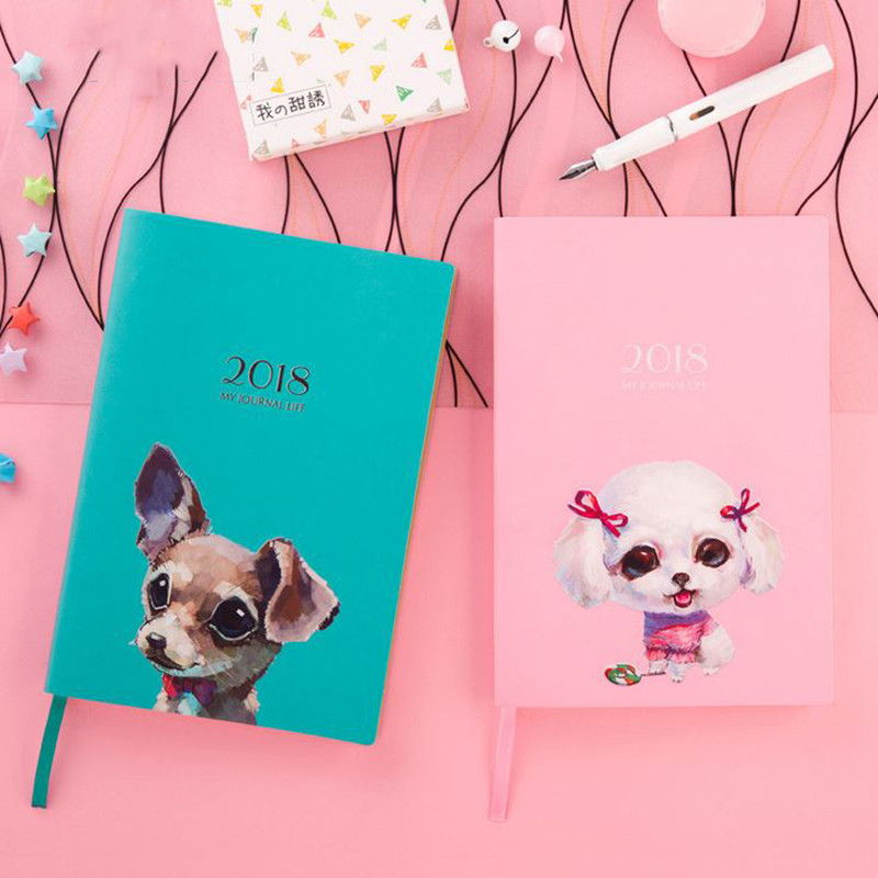 Coloffice 1PC Cute Dog 2018 Schedule Planner Journal Notebook Dairy Weekly Student Efficiency Manual Notepad HandBook Stationery ezone 1pc a5 cherry blossoms handbook cute illustration page notepad schedule planner journal diary stationery school supplies