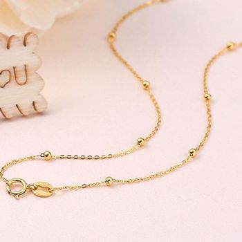 Solid 18k Yellow Gold Necklace Lucky Smooth Bead With O Chain Necklace 16.5inch 1