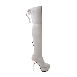 Image 4 - MORAZORA 2020 New fashion women boots flock leather platform over the knee boots zip autumn winter high heels thigh high boots