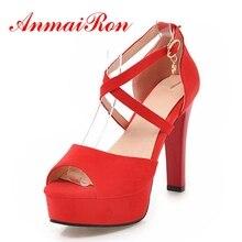 ANMAIRON Female High Heels Sandals Cross-strap Summer Casual Peep Toe Spike heels Flock Lady shoes Metal Platform shoes CR135 цены онлайн