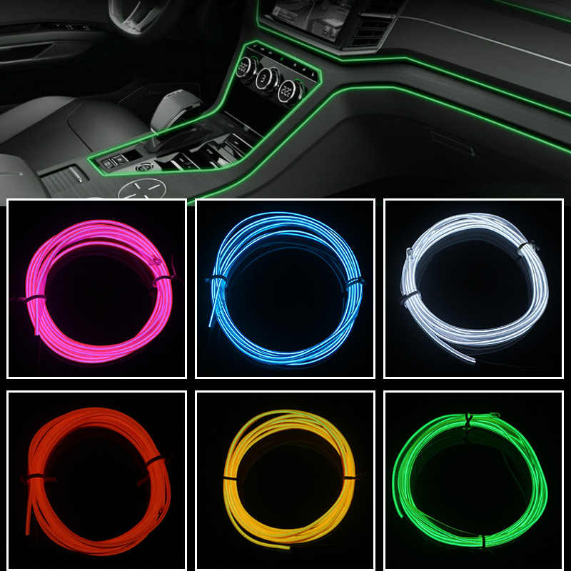 Car Interior Lighting 1M 2M 3M 5M  Auto LED Strip Garland EL Wire Rope Tube Line flexible Neon Light With 12V Cigarette Drive US