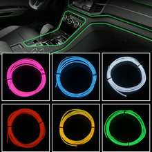 Auto Interieur Verlichting 1M 2M 3M 5M Auto LED Strip Guirlande EL Wire Rope Tube Lijn flexibele Neon Light Met 12V Sigaret Drive US(China)